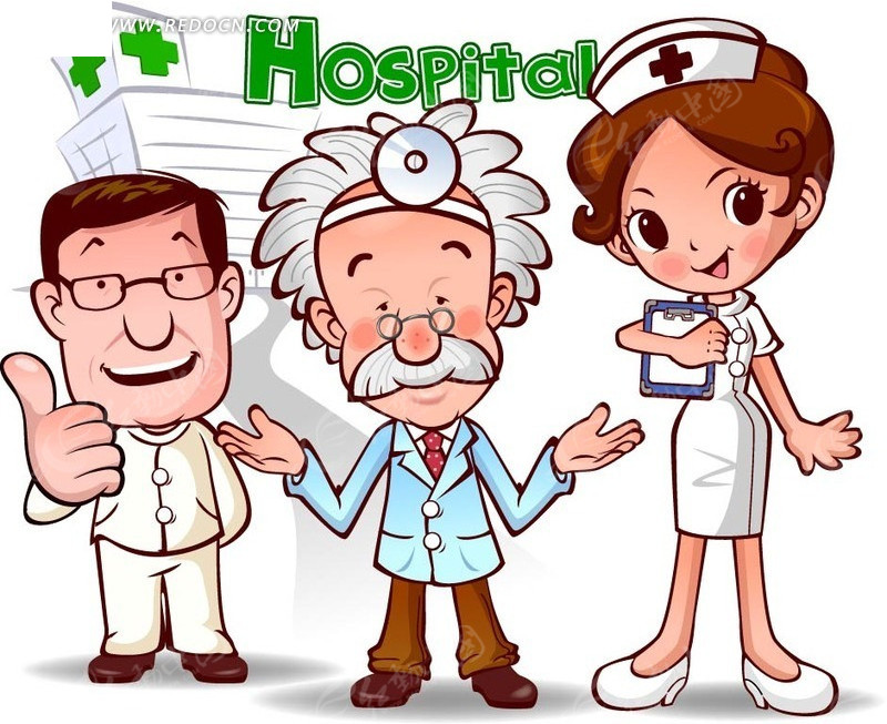 三个医护人员矢量图_卡通形象