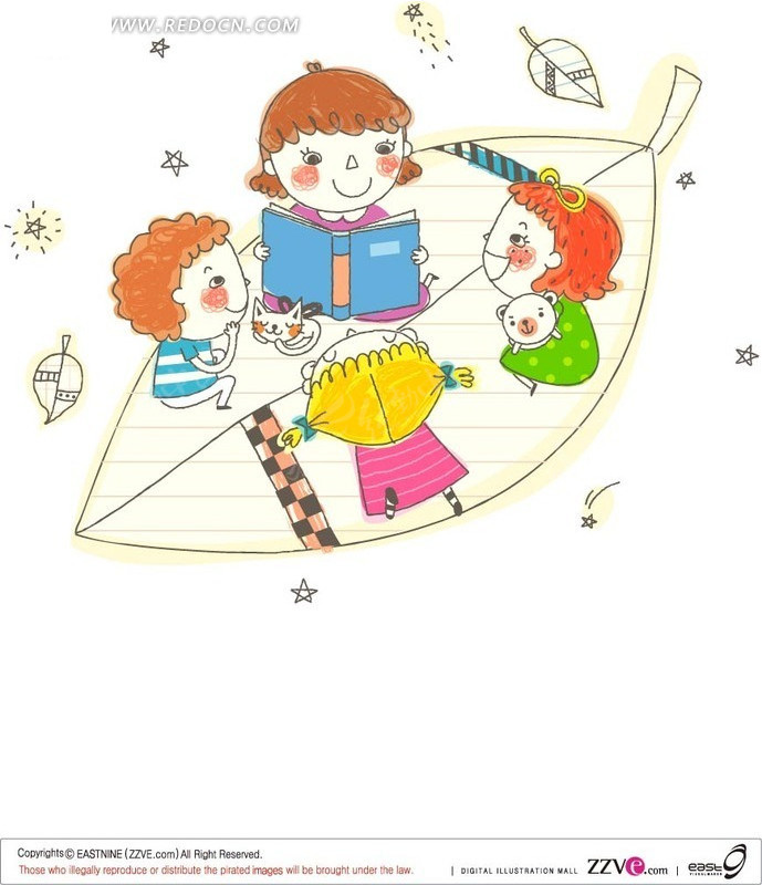 儿童幸福生活 树叶 卡通人物 讲故事 幸福 手绘 宣传插画 线条 糖果