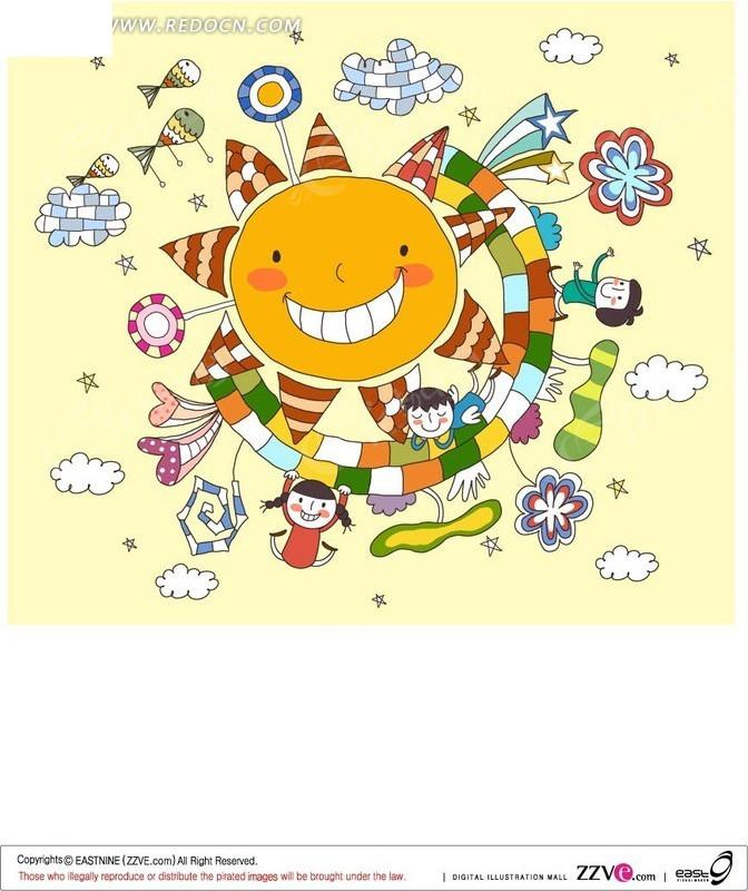 太阳儿童画