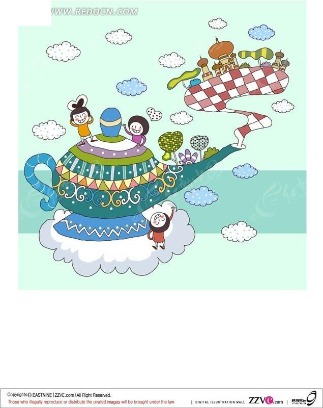 茶壶上的儿童插画ai图片