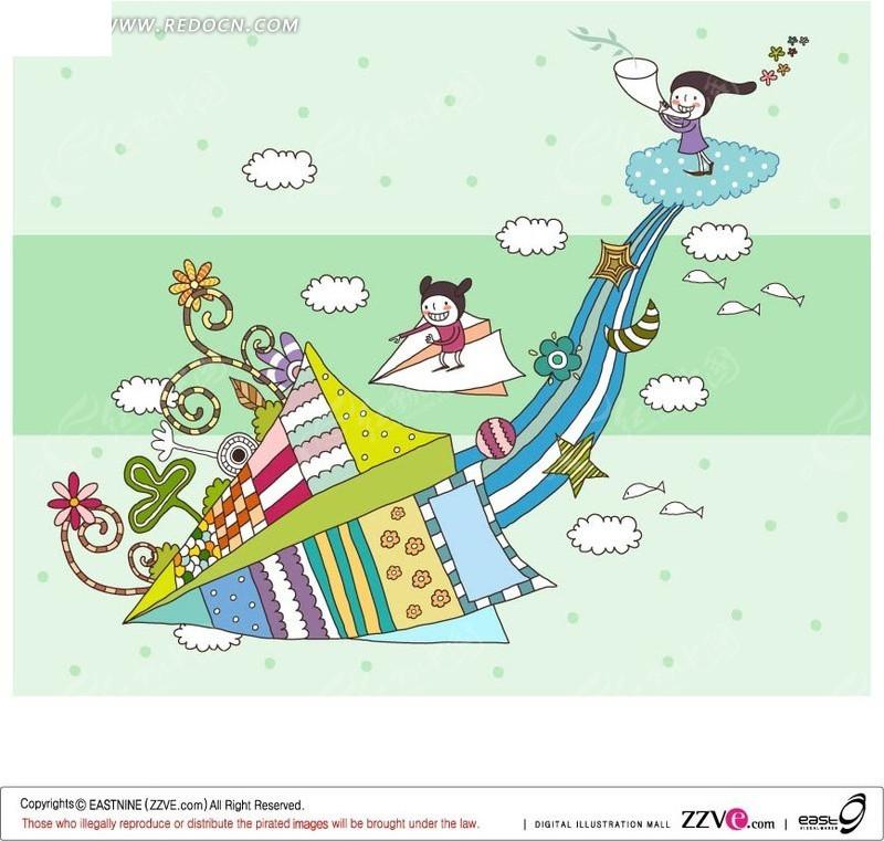 纸飞机上的儿童主题插画ai免费下载