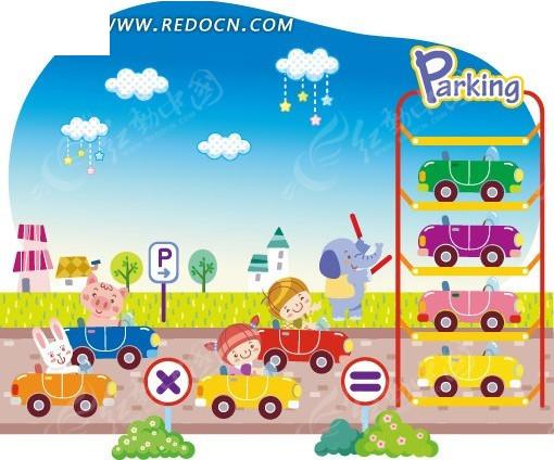 动物和小朋友一起开汽车eps_028