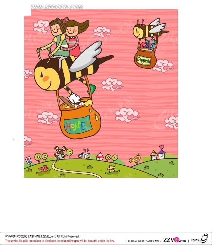 骑着蜜蜂降落伞的儿童矢量图