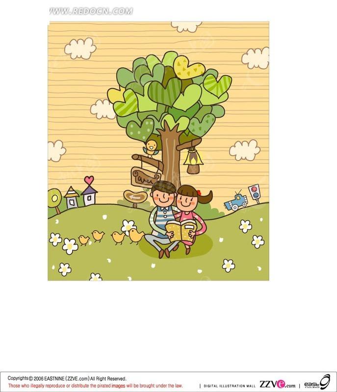 树下看书的孩子AI素材免费下载 红动网