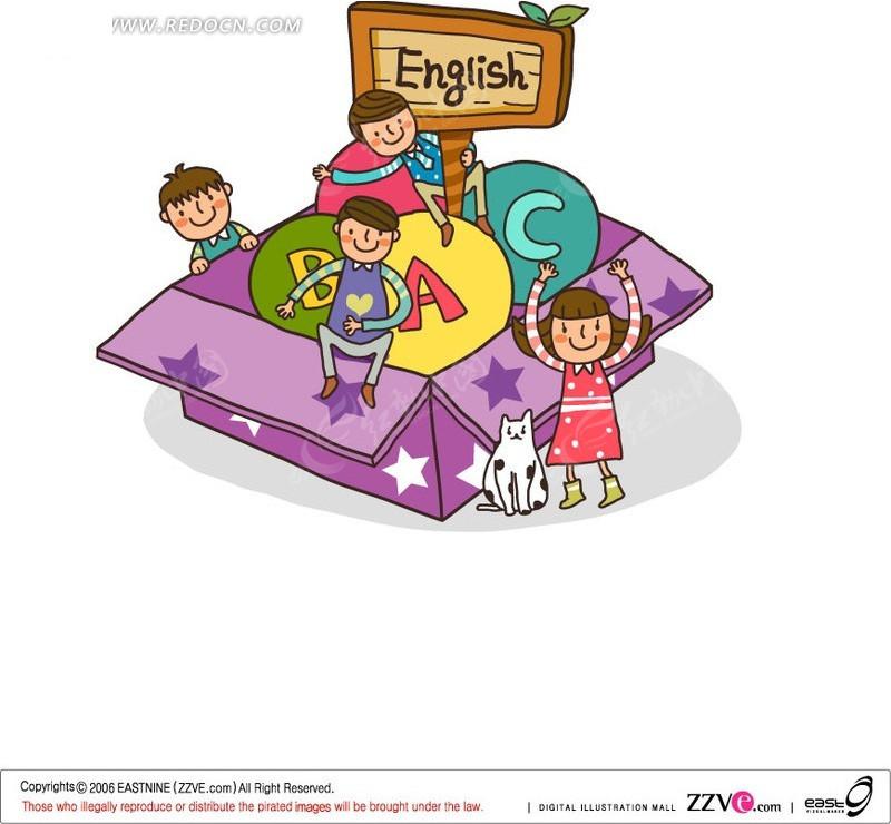 卡通儿童学校生活