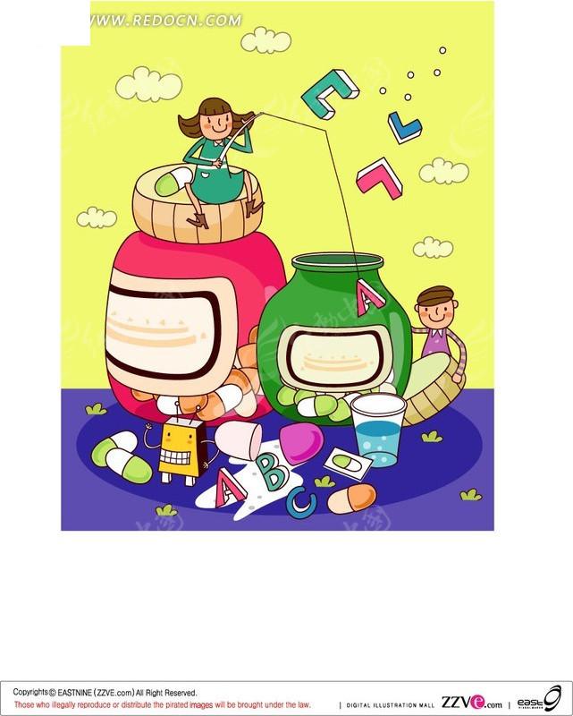 儿童毕业海报手绘