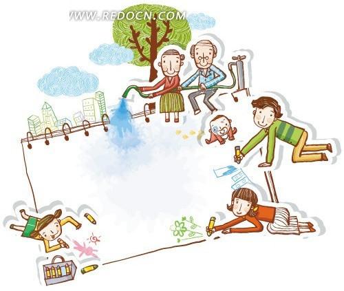 一家人画画