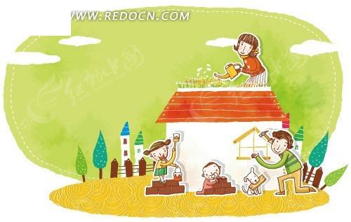 韩国手绘快乐的大家庭_卡通形象_红动手机版
