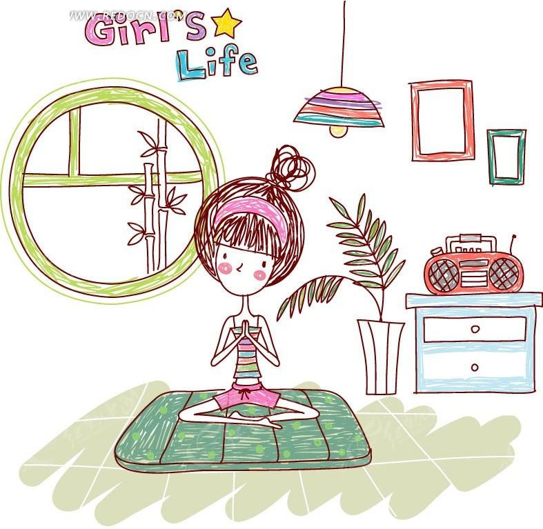 免费素材 矢量素材 矢量人物 卡通形象 矢量 女生的生活 girl s life