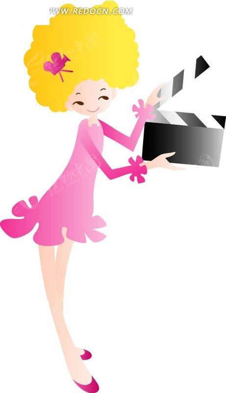 在拍电影的卡通女孩