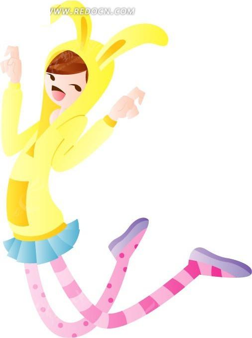 跳舞的卡通小女孩人物插画矢量图 卡通形象