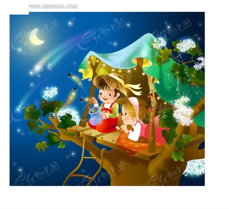 梦幻星空下放飞萤火虫AI素材免费下载 编号590579 红动网