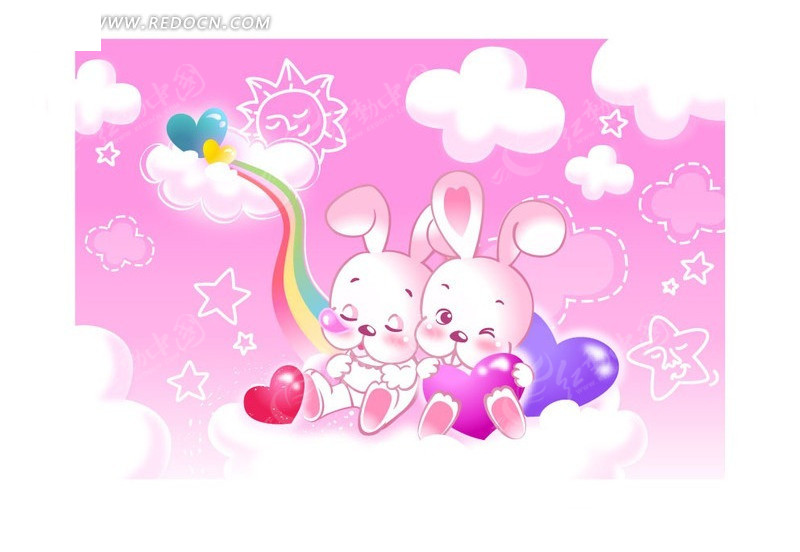 矢量卡通兔子图