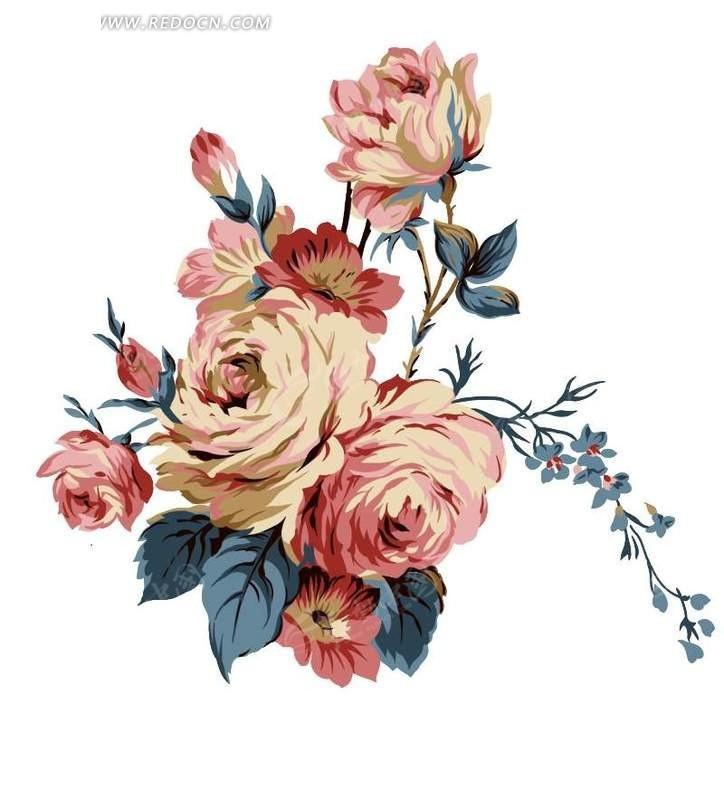手绘红色玫瑰花花束