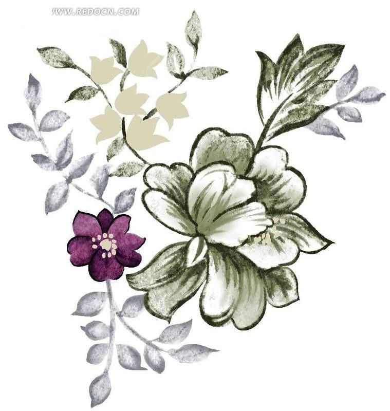 手绘花朵与灰色叶子