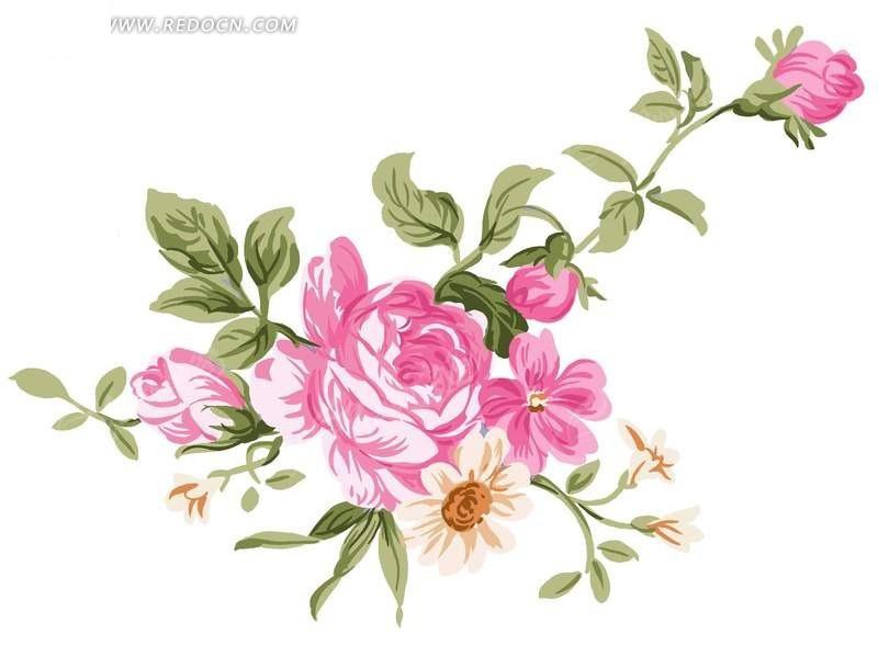 手绘粉红色玫瑰花与花蕾叶子
