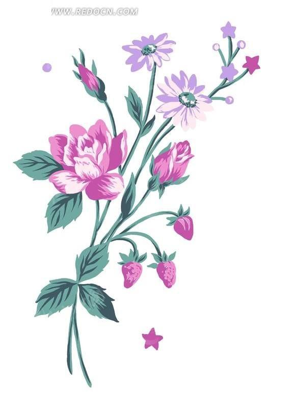 手绘玫瑰花草莓与五星图案_花纹花边