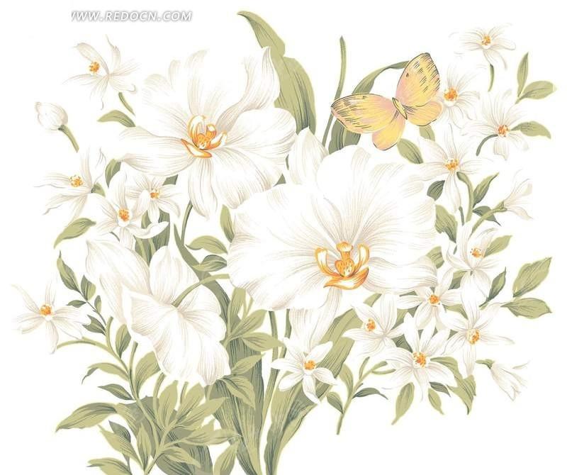 手绘唯美白色花卉psd分层素材
