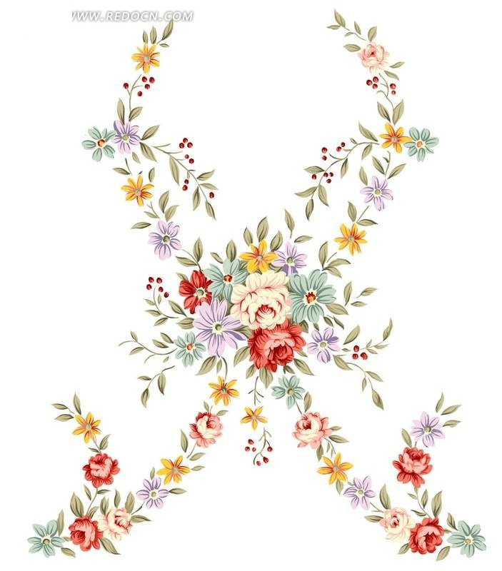 手绘玫瑰花与花蕾叶子