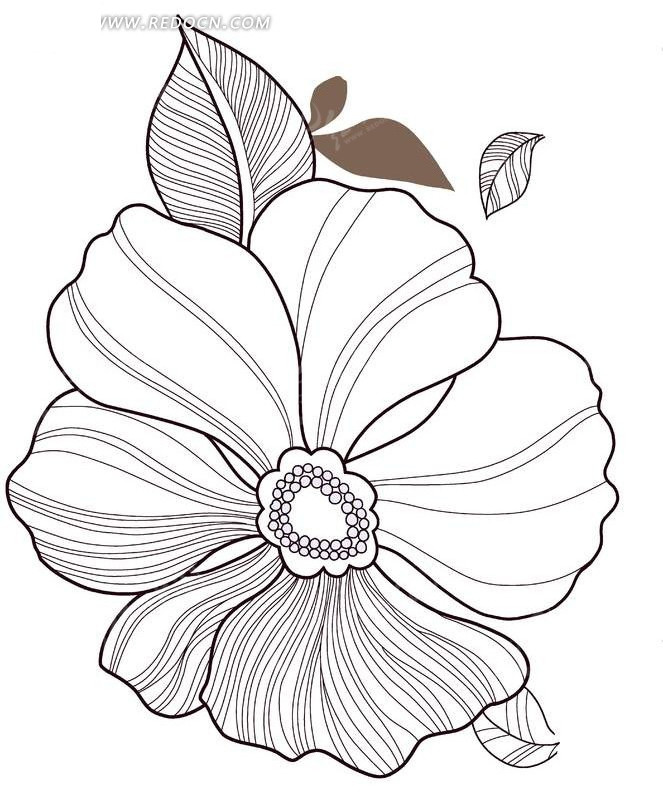 免费素材 psd素材 psd花纹边框 花纹花边 手绘白描六瓣花朵和叶子  请