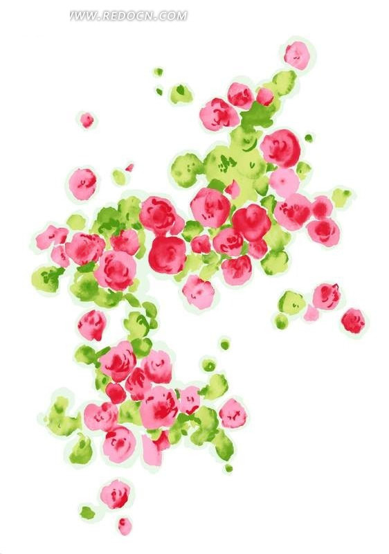 玫瑰花丛水粉画