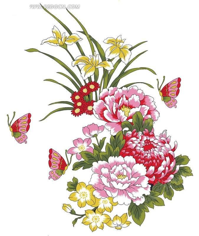 工笔画牡丹兰花蝴蝶图片