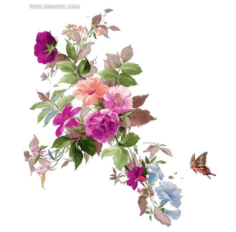 花纹花边-蝴蝶交织飞舞,站在花丛间的少女图案有着儿童简笔画
