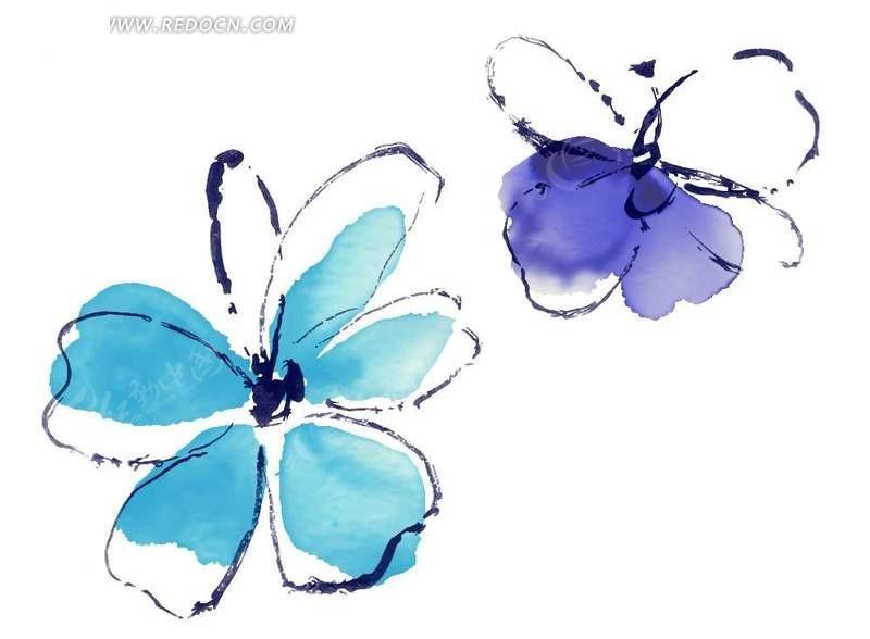 手绘 线描 花纹 花边 花边素材 PSD素材-两朵简单的线描花朵图案素图片