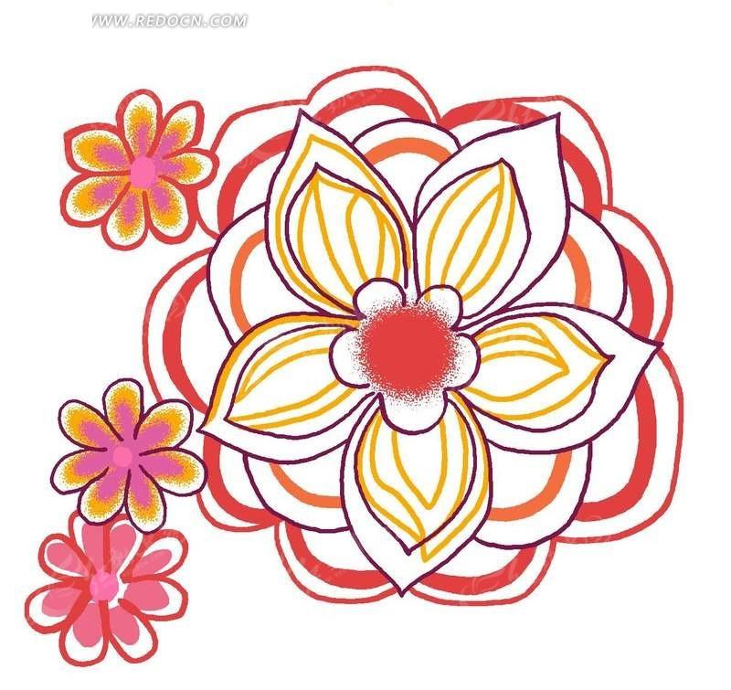 红色手绘写意花朵图案