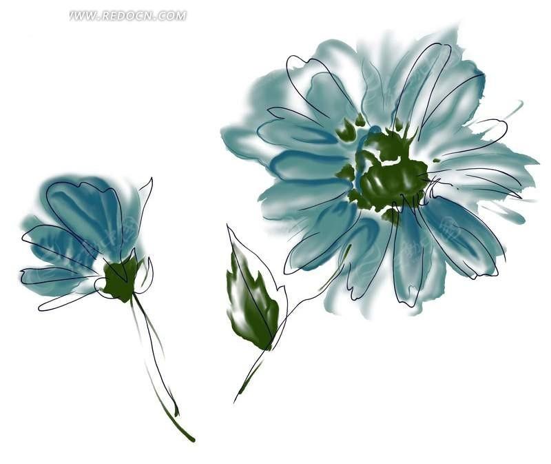 手绘涂鸦抽象花与花蕾