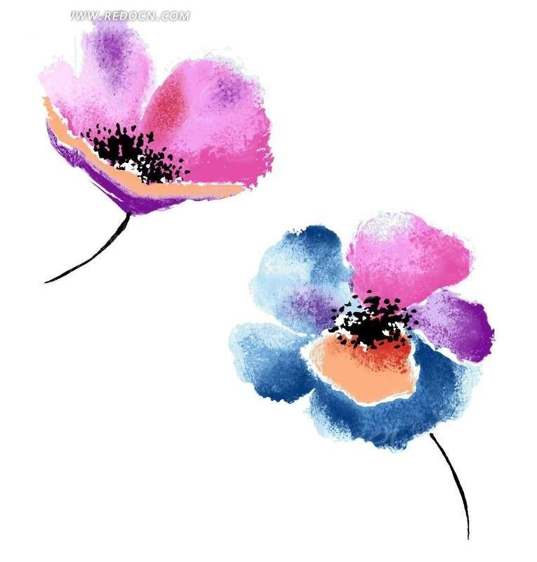 手绘水彩效果彩色花朵