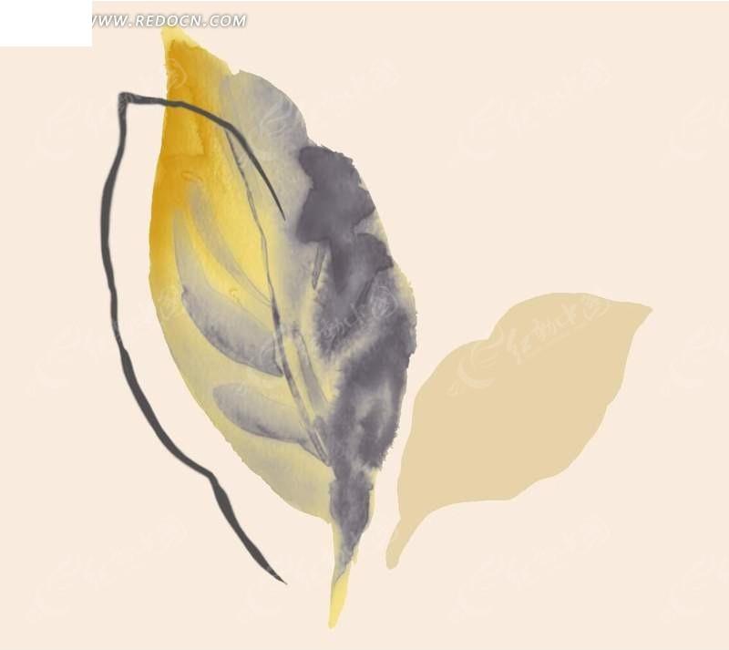 psd分层水彩树叶