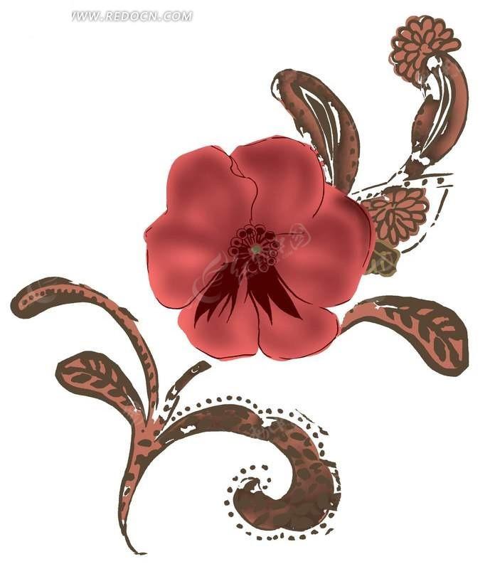 手绘红色五瓣花与卷草图案