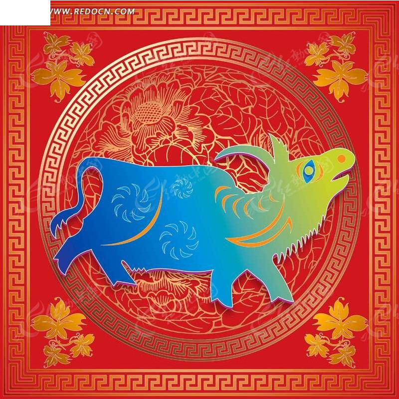 传统牛生肖剪纸贴画图片