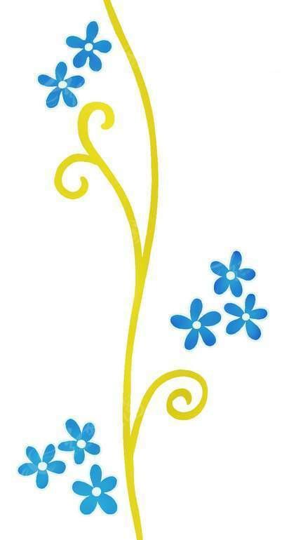 psd素材 psd花纹边框 花纹花边 手绘蓝色五瓣花朵和卷曲的藤蔓