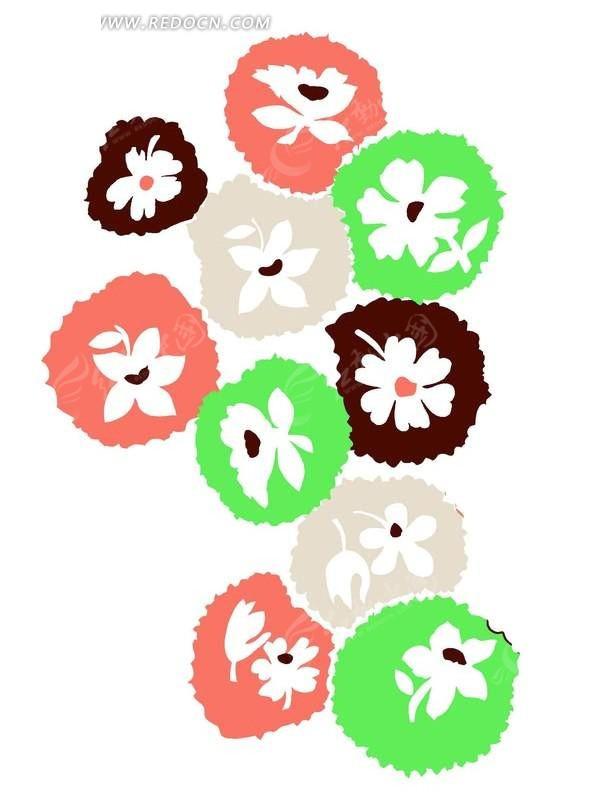 手绘卡通图案花朵