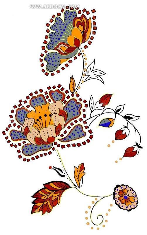 创意牡丹花卉插画设计psd图片