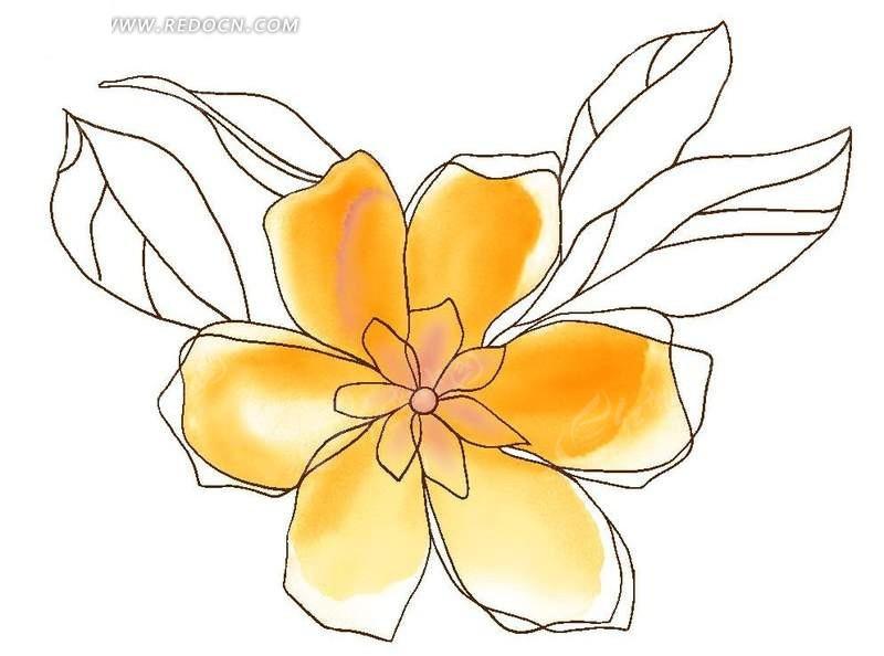 手绘花瓣插画文件PSD素材免费下载 编号591567 红动网图片
