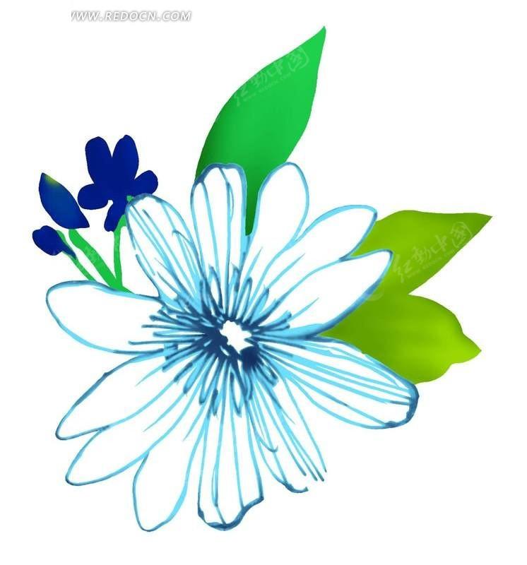 手绘花朵绿色叶子插画素材