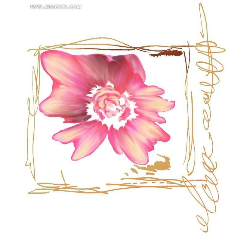 彩绘粉红色花朵手绘黄色边框