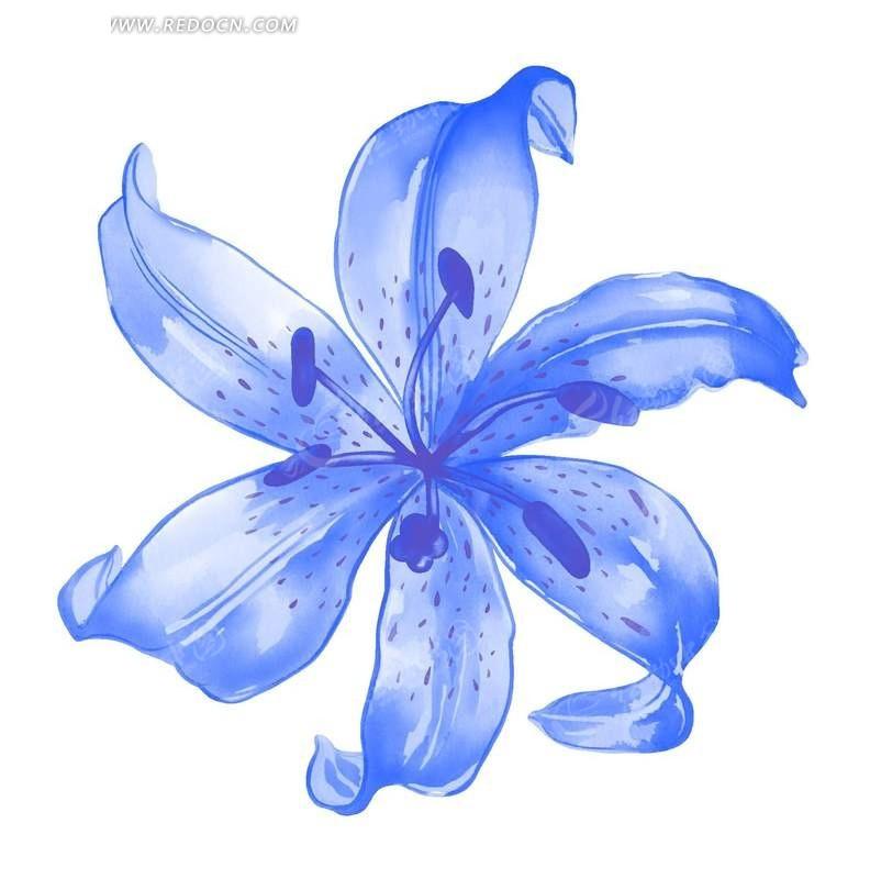 水彩蓝色花朵psd分层素材