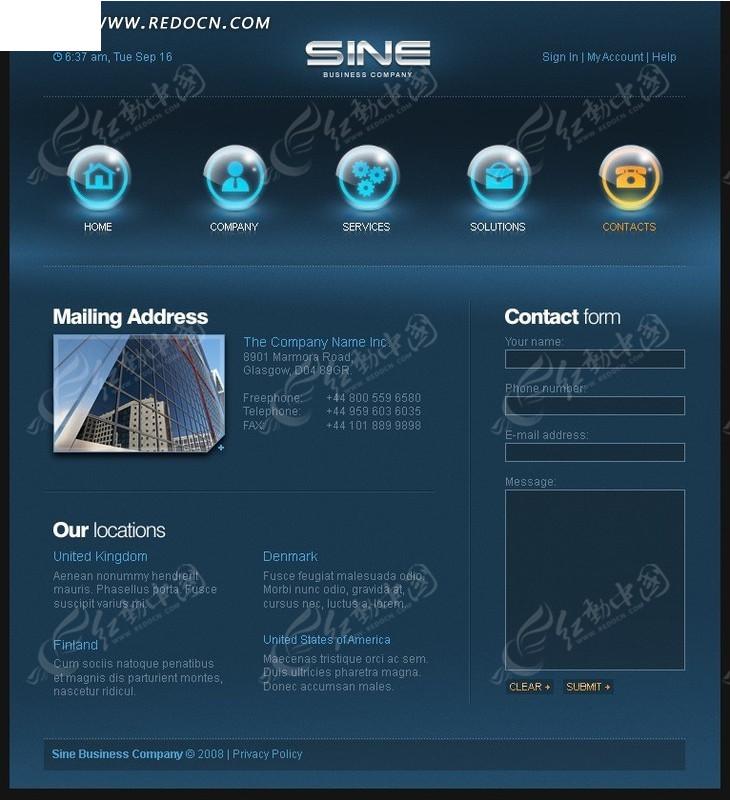 深蓝色企业网页模板设计(98)