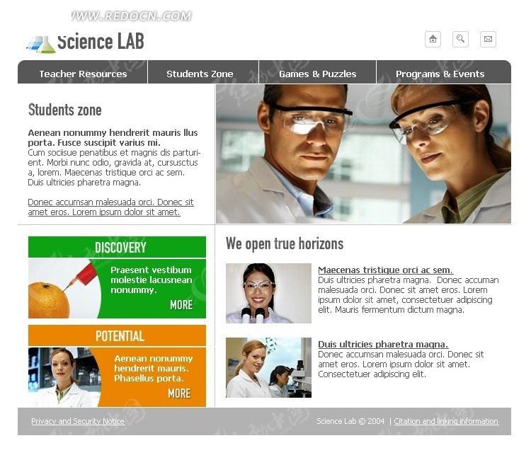 欧美医院网页模板设计图片