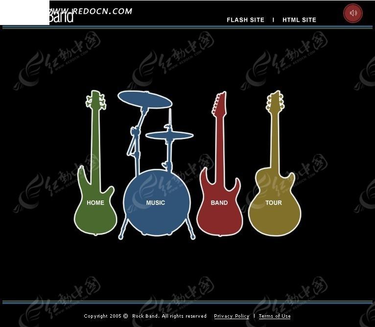 乐器销售网页模板_欧美模板