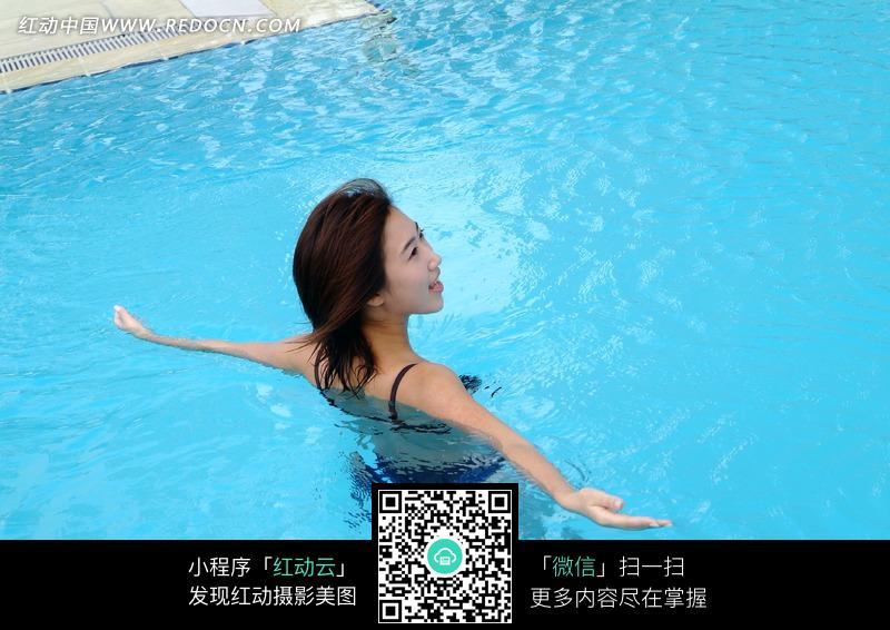 游泳池中的比基尼美女图片