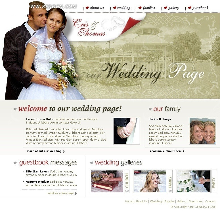 婚纱摄影网站模板_欧美模板