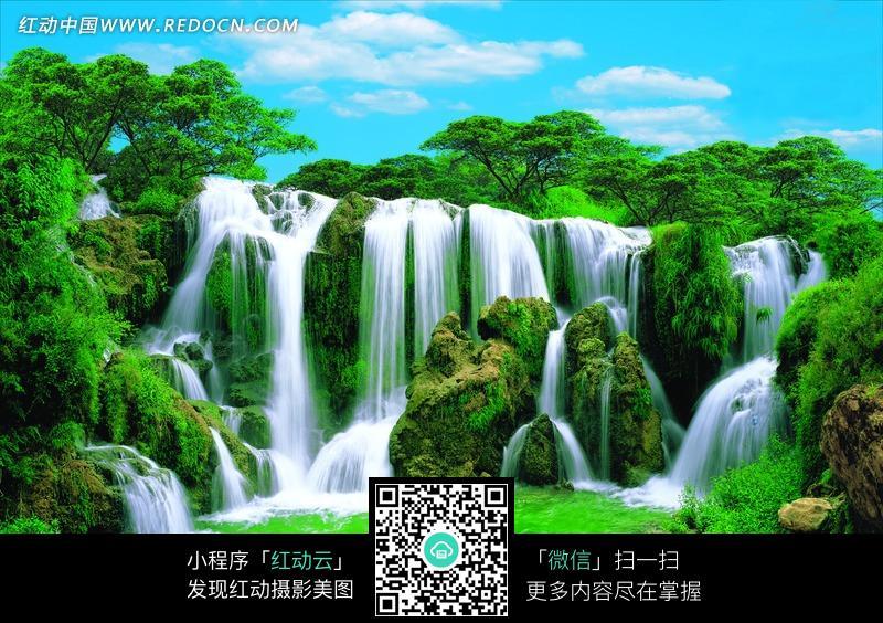 绿色山水瀑布图片_自然风景图片