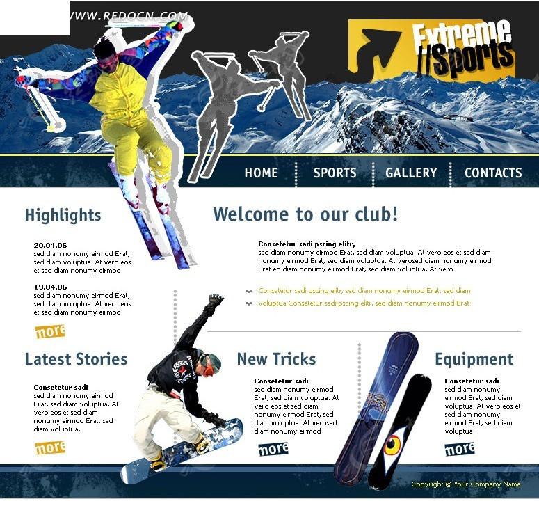 欧美滑雪运动网页设计模板原码