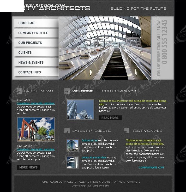 欧美城市建筑网站网页设计模板_欧美模板
