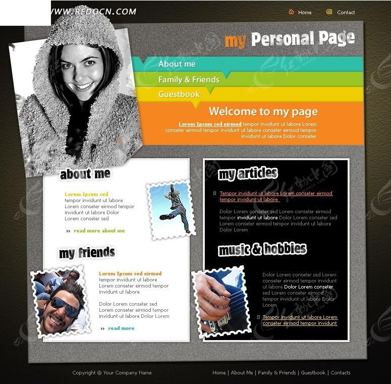 欧美个人主页网站网页模板图片